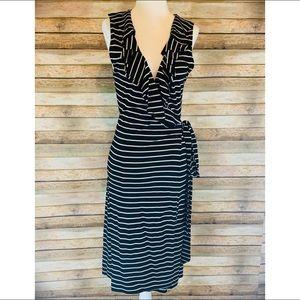 Banana Republic Wrap Dress Black & white stripes